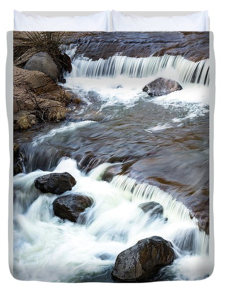 Boulders In The Rapids Duvet Cover
