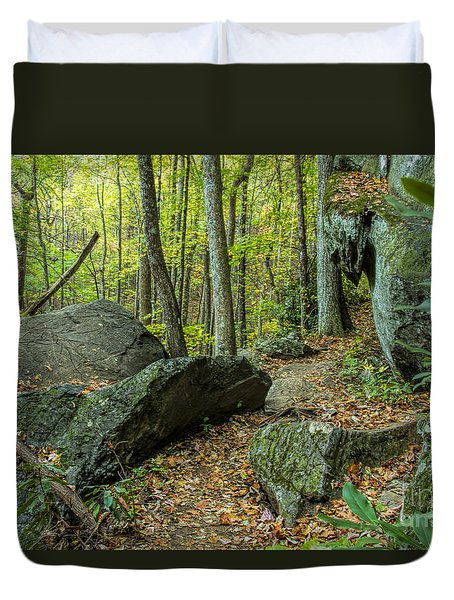 Duvet Cover featuring the photograph Boulders On The Bear Hair Gap Trail by Barbara Bowen