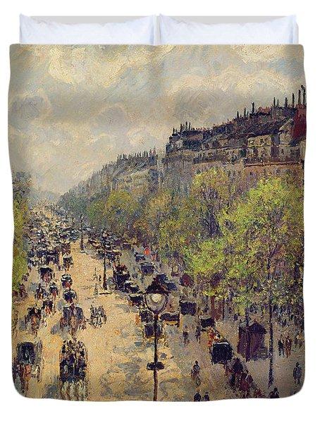 Boulevard Montmartre Duvet Cover by Camille Pissarro