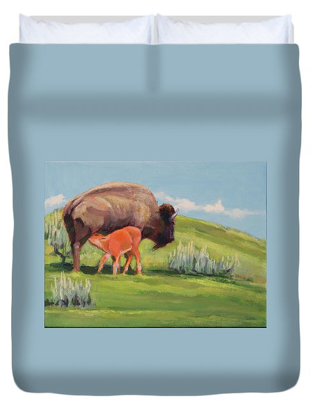 Bouncing Baby Bison Duvet Cover