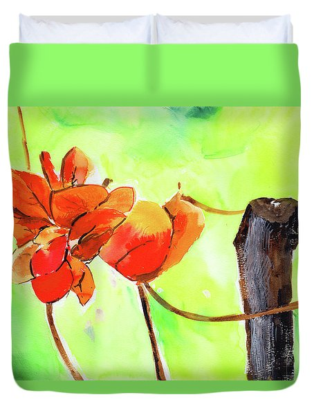 Duvet Cover featuring the painting Bound Yet Free by Anil Nene