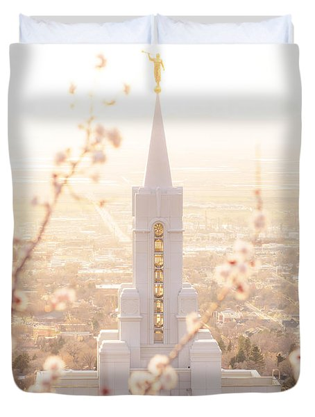 Bountiful Temple Blooms Duvet Cover