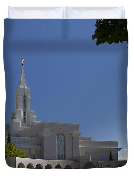 Bountiful Utah Temple Entrance Duvet Cover