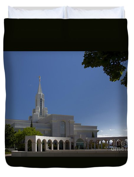 Bountiful Utah Temple Entrance Duvet Cover