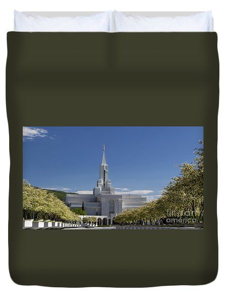 Bountiful Utah Temple In Spring Duvet Cover