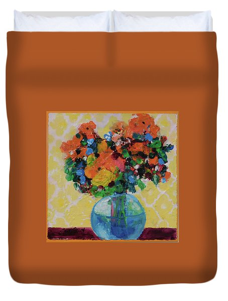 Bouquet-a-day #7 Original Acrylic Painting Free Shipping 59.00 By Elaine Elliott Duvet Cover