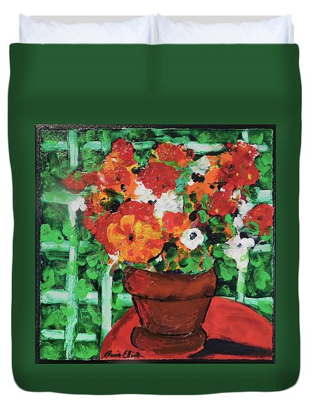 Bouquet A Day Floral Painting Original 59.00 By Elaine Elliott Duvet Cover