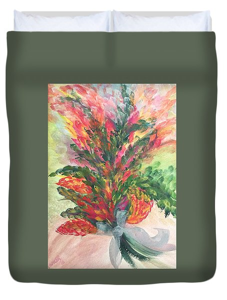 Bouquet And Ribbon Duvet Cover