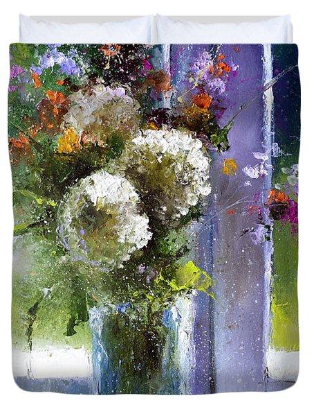 Bouquet At Window Duvet Cover