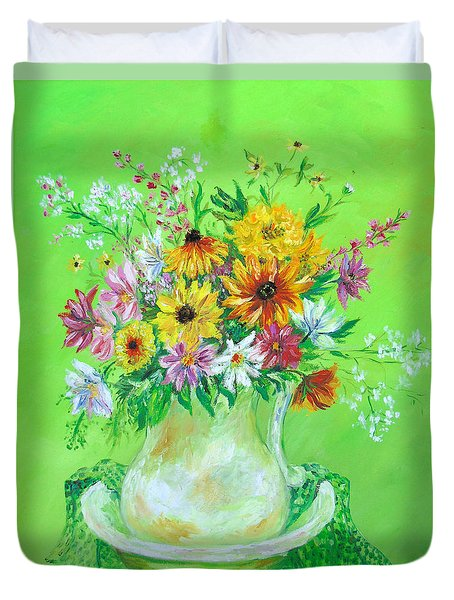 Bouquet By May Villeneuve Duvet Cover