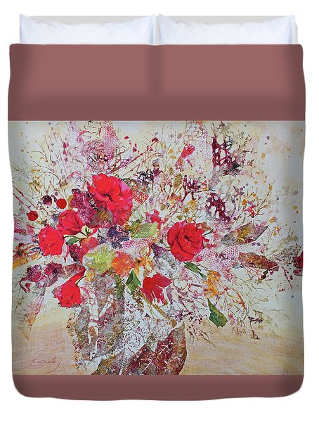 Duvet Cover featuring the painting Bouquet Desjours by Joanne Smoley