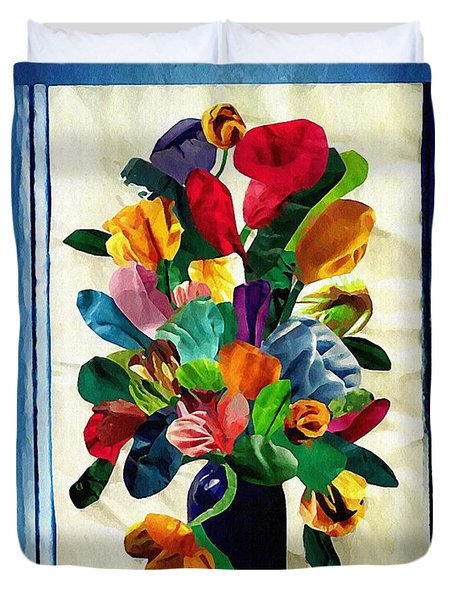 Bouquet In A Country Window Duvet Cover