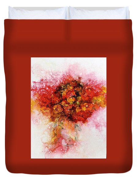 Bouquet In Red Duvet Cover by Carolyn Rosenberger