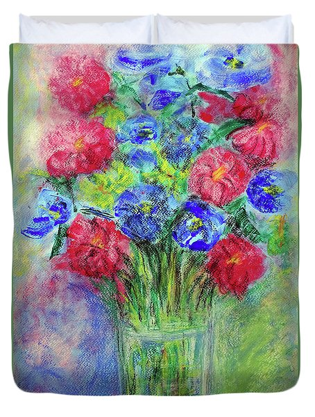 Duvet Cover featuring the painting Bouquet by Jasna Dragun