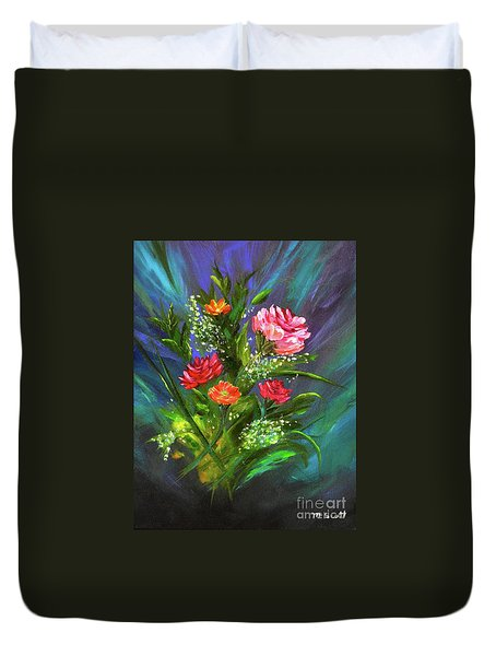 Duvet Cover featuring the painting Bouquet by Mary Scott