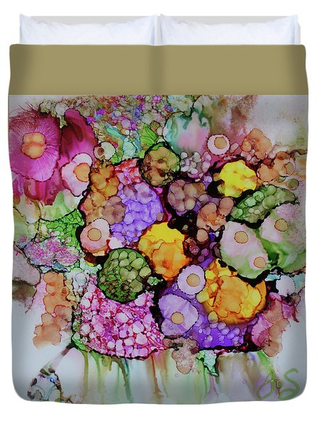 Duvet Cover featuring the painting Bouquet Of Blooms by Joanne Smoley
