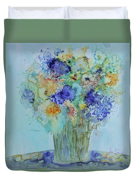 Duvet Cover featuring the painting Bouquet Of Blue And Gold by Joanne Smoley