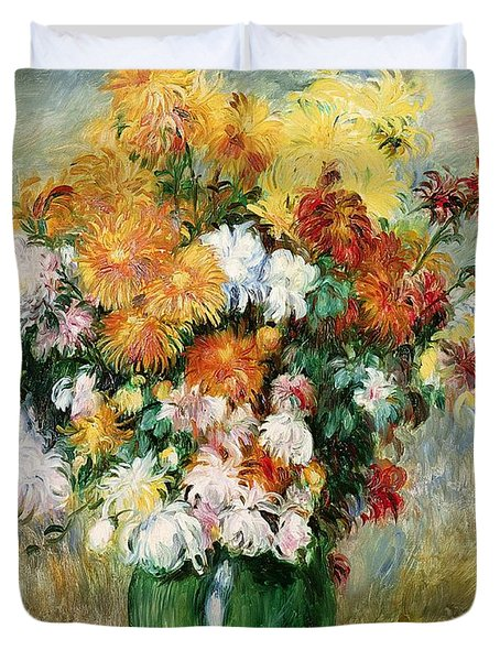 Bouquet Of Chrysanthemums Duvet Cover by Pierre Auguste Renoir
