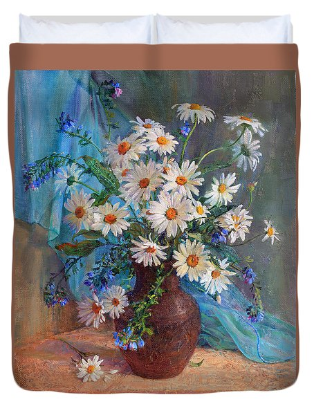Bouquet Of Daisies In A Vase From Clay Duvet Cover