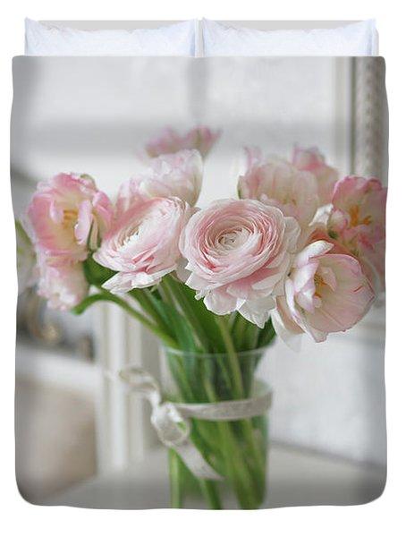 Bouquet Of Delicate Ranunculus And Tulips In Interior Duvet Cover