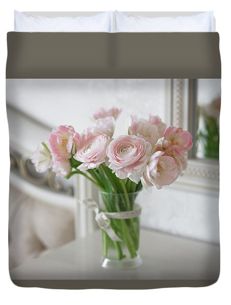 Bouquet Of Delicate Ranunculus And Tulips In Interior Duvet Cover by Sergey Taran