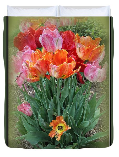 Bouquet Of Colorful Tulips Duvet Cover by Dora Sofia Caputo Photographic Art and Design