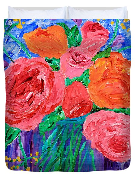 Bouquet Of English Roses In Mason Jar Painting Duvet Cover