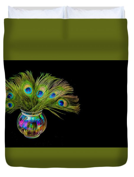 Bouquet Of Peacock Duvet Cover by Rikk Flohr