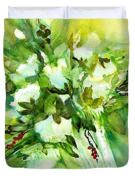White Roses In Vase Duvet Cover