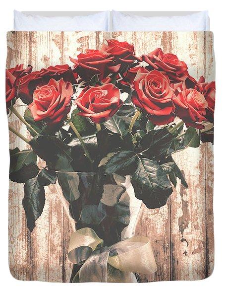 Bouquet Roses Duvet Cover by Wim Lanclus