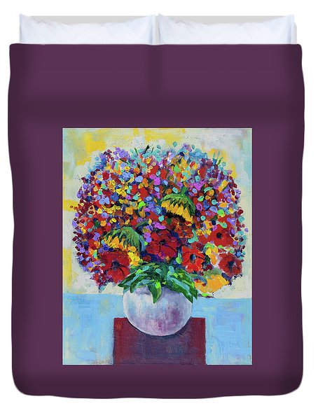 Bouquet With Two Sunflowers Duvet Cover
