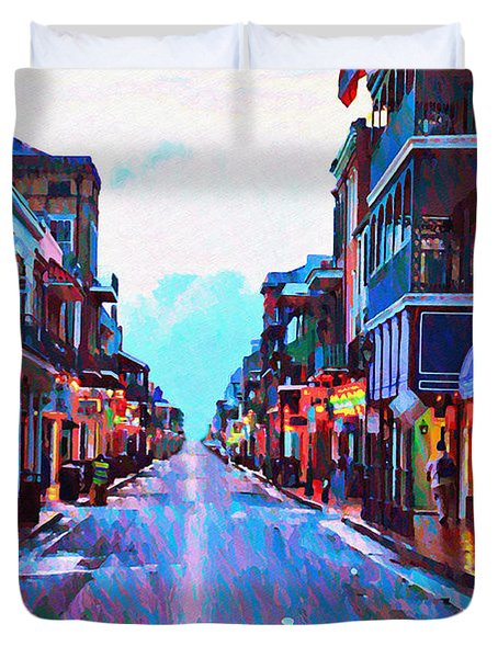 Bourbon Street At Dawn Duvet Cover by Bill Cannon