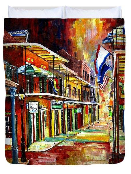Bourbon Street Lights Duvet Cover by Diane Millsap