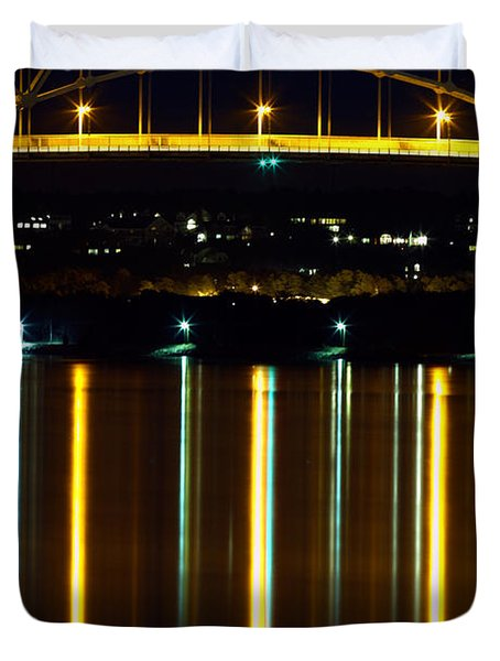 Bourne Bridge At Night Cape Cod Duvet Cover by Matt Suess