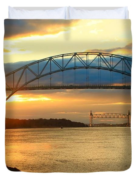 Bourne Bridge Sunset Duvet Cover