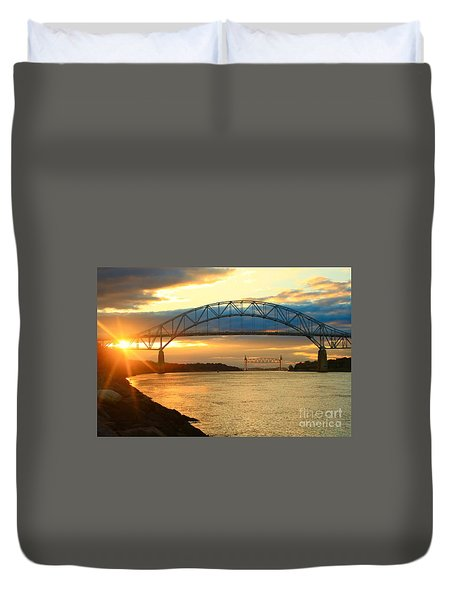 Bourne Bridge Sunset Duvet Cover by Amazing Jules