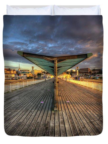 Duvet Cover featuring the photograph Bournemouth Pier Sunrise 2.0 by Yhun Suarez