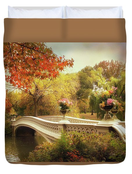 Duvet Cover featuring the photograph Bow Bridge Crossing by Jessica Jenney