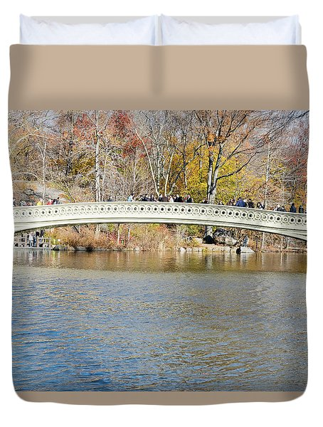 Duvet Cover featuring the photograph Bow Bridge With Wedding by Steven Richman