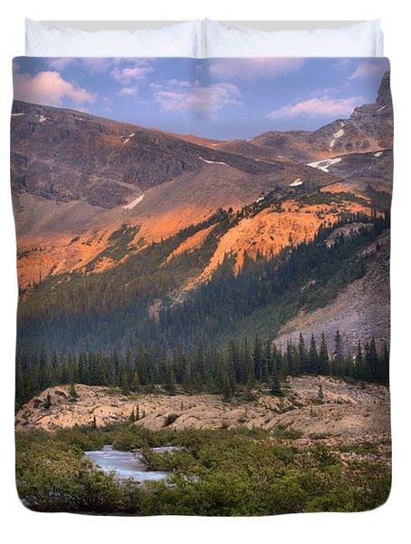 Bow Glacier Creek Sunset Duvet Cover
