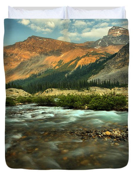 Bow Glacier Stream At Sunset Duvet Cover