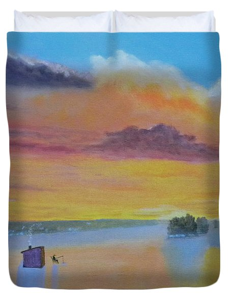 Bow Lake Ice Fishing Duvet Cover