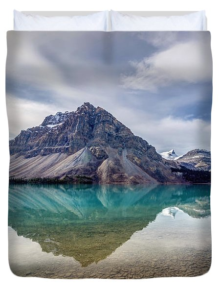 Bow Lake Reflection From Num-ti-jah Lodge  Duvet Cover