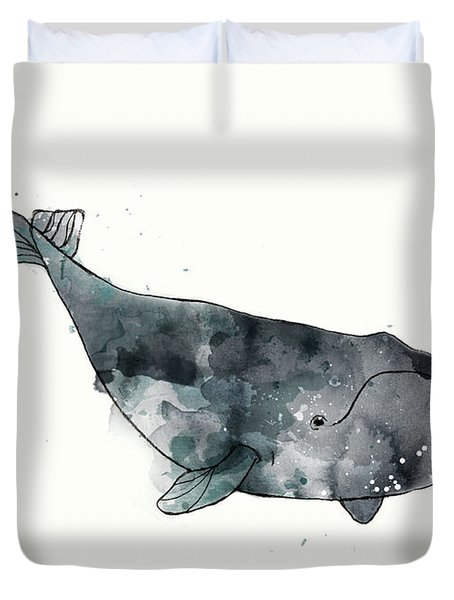 Bowhead Whale From Whales Chart Duvet Cover by Amy Hamilton