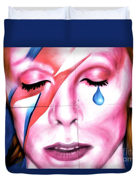 Duvet Cover featuring the photograph Bowie Tear by John Rizzuto