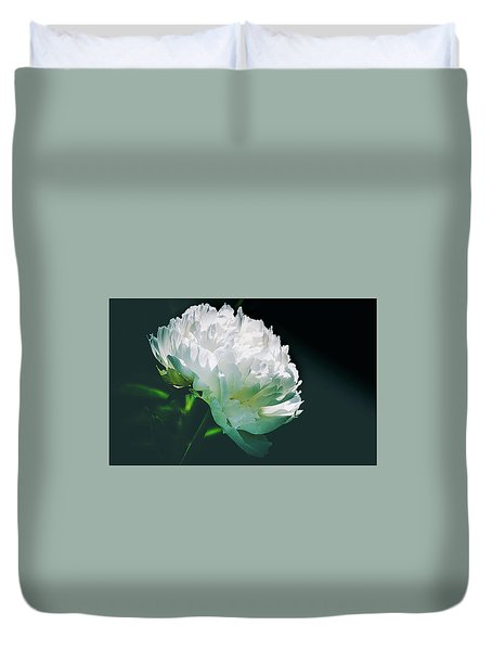Duvet Cover featuring the photograph Bowl Of Cream Peony by Julie Palencia