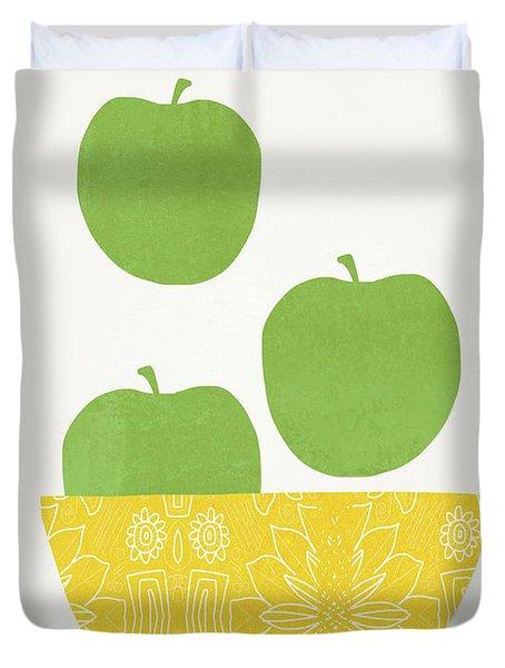 Bowl Of Green Apples- Art By Linda Woods Duvet Cover