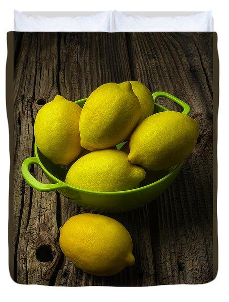 Bowl Of Lemons Duvet Cover by Garry Gay