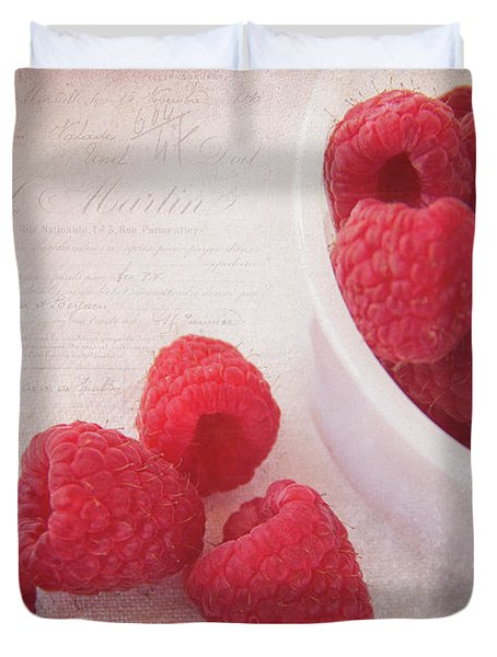 Bowl Of Red Raspberries Duvet Cover