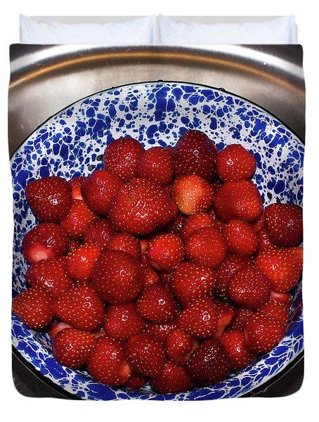 Bowl Of Strawberries 1 Duvet Cover by Douglas Barnett